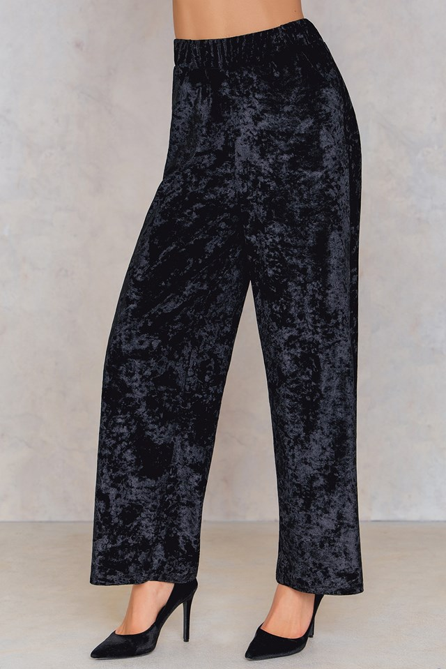 Velvet Flared Pants Black
