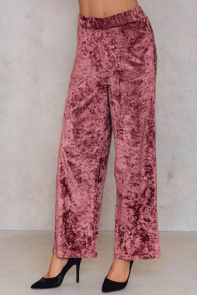 Rozszerzane spodnie z aksamitu Dusty Pink