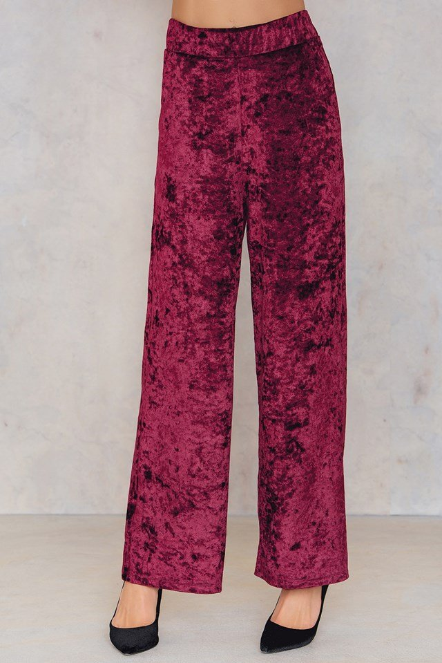 Velvet Flared Pants Wine Red