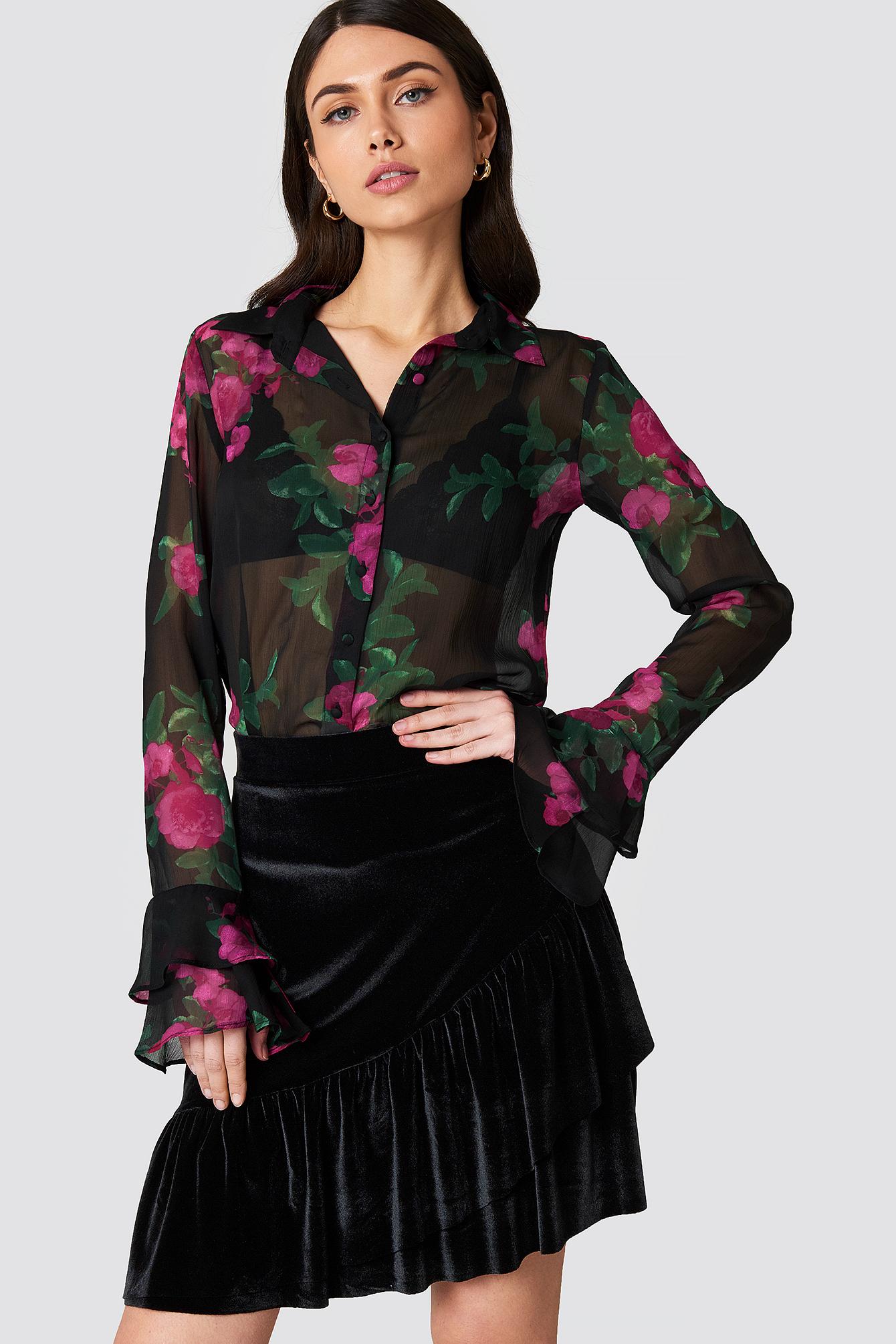 na-kd party -  Velvet Frill Skirt - Black