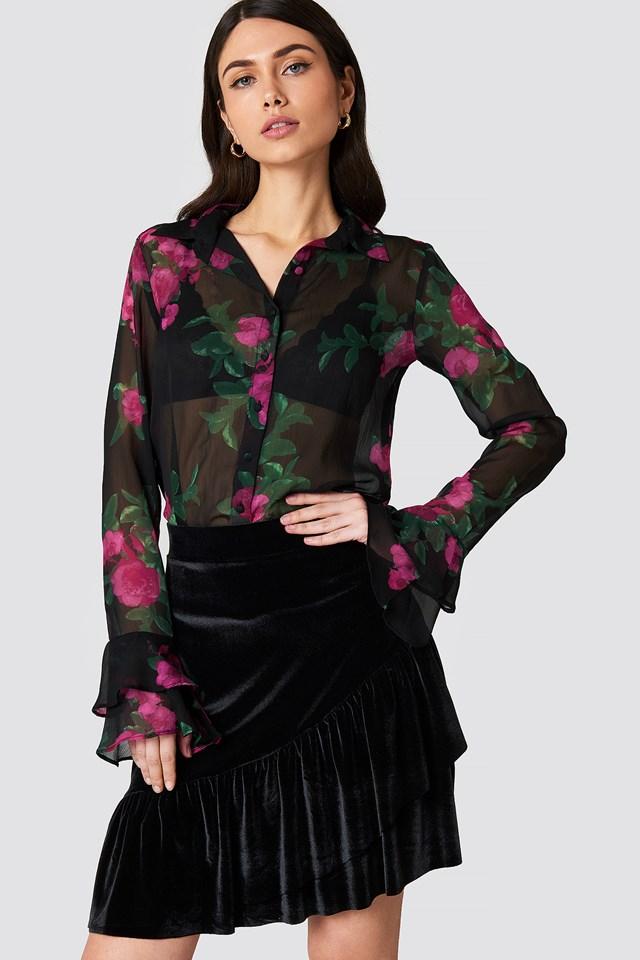 Velvet Frill Skirt NA-KD Party