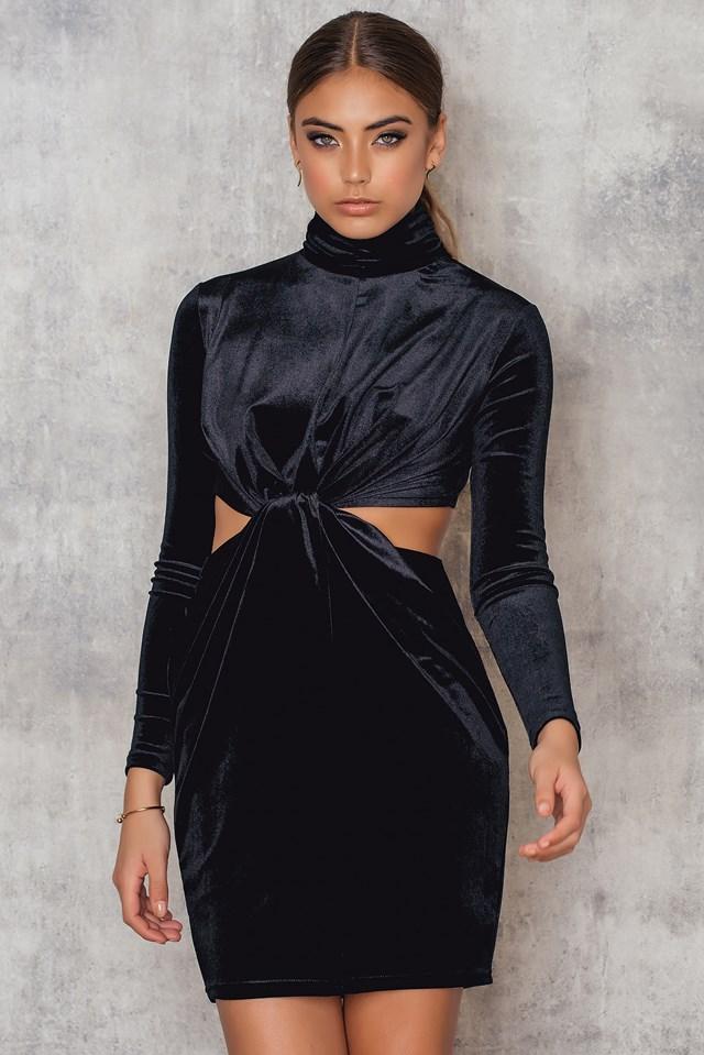 Velvet High Neck Short Dress Black