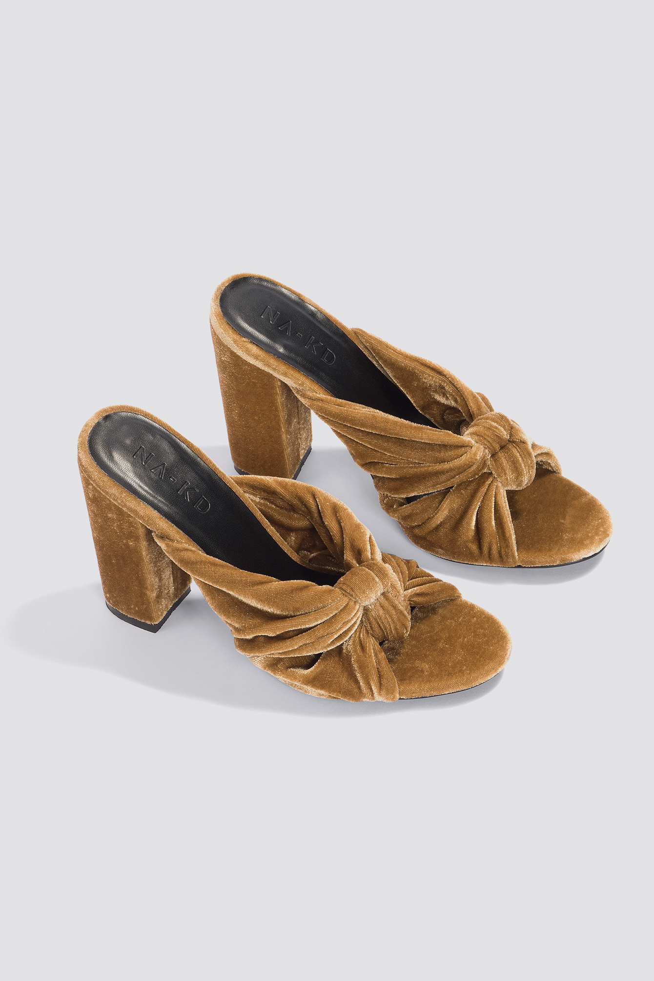 na-kd shoes -  Velvet Knot Mule Heels - Brown,Gold