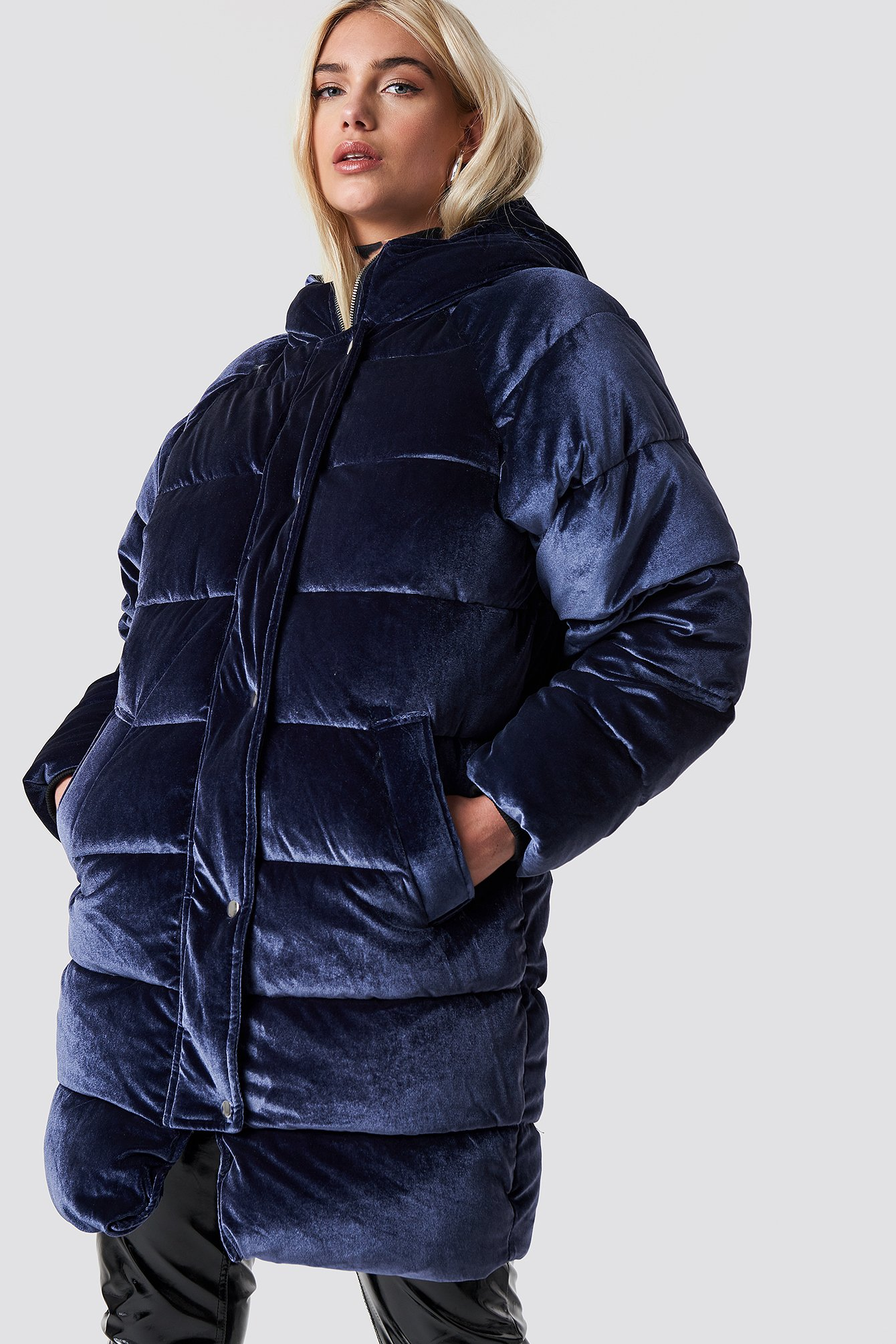 na-kd -  Velvet Long Puffer - Blue,Navy