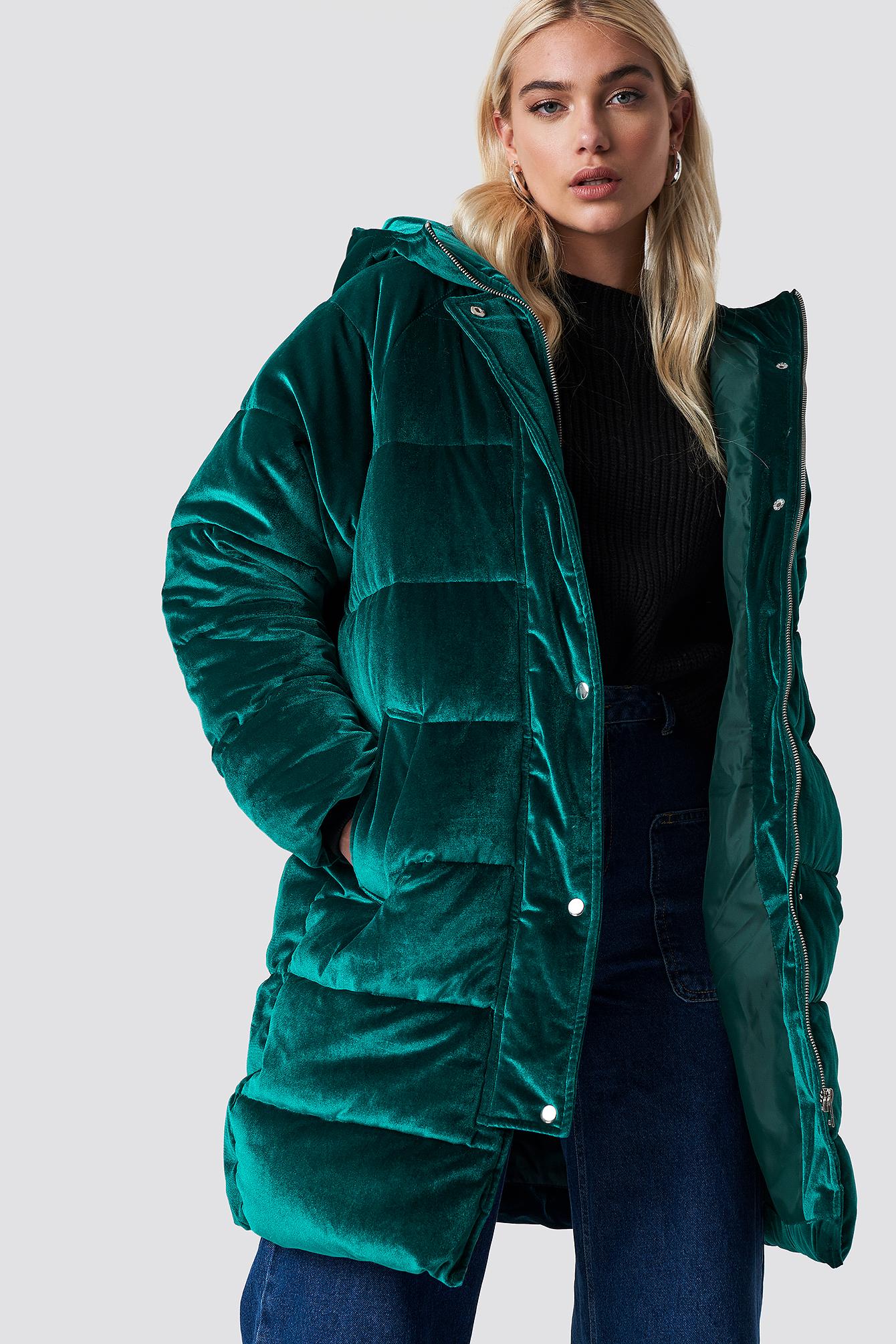 na-kd -  Velvet Long Puffer - Green