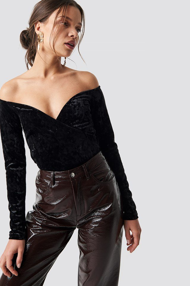Velvet Off Shoulder Top Black