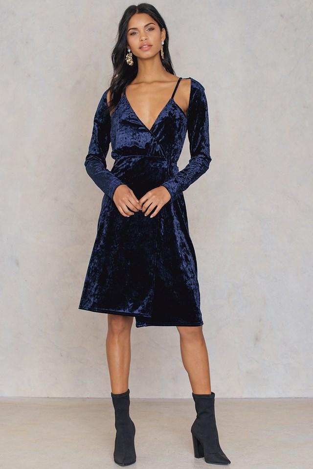Velvet Overlap Dress Navy