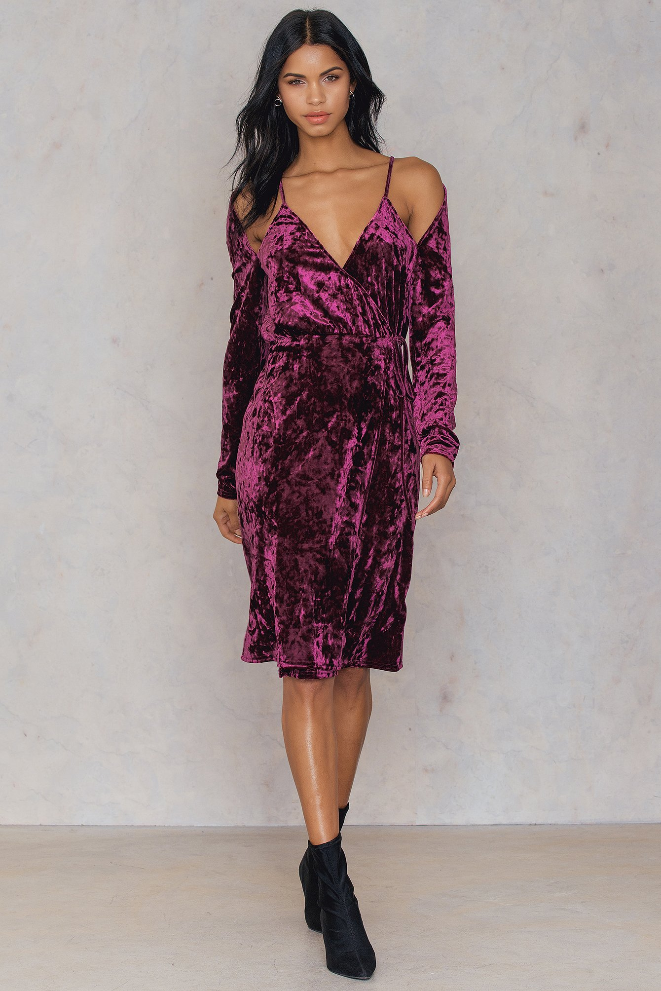 na-kd party -  Velvet Overlap Dress - Pink,Purple