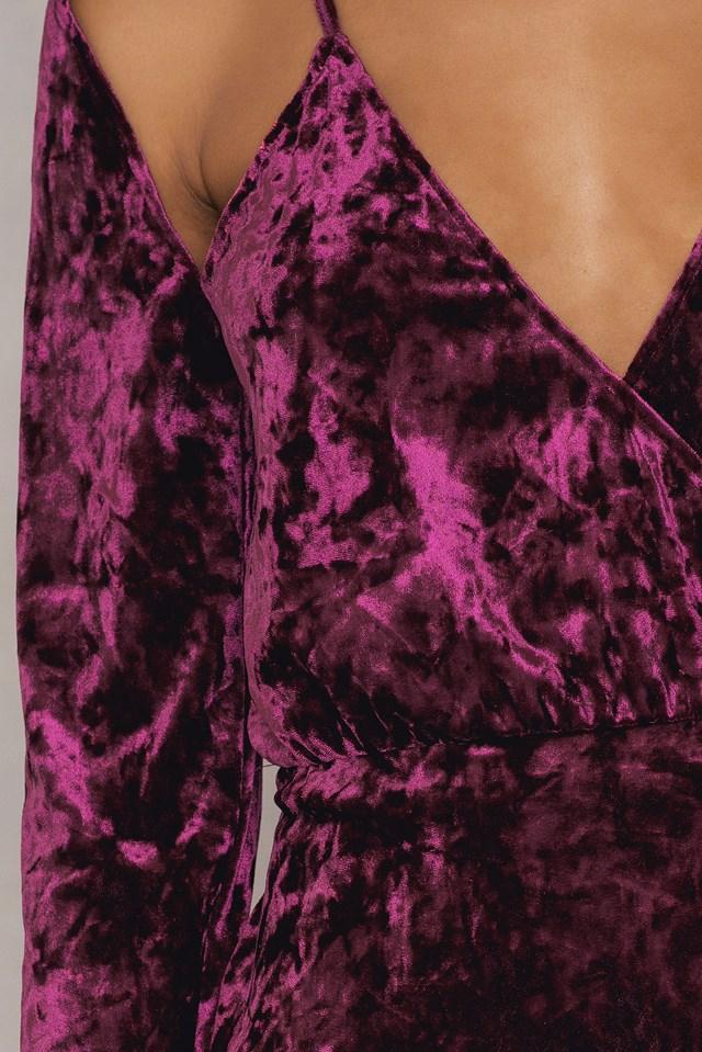 Velvet Overlap Dress Dark Purple Rose