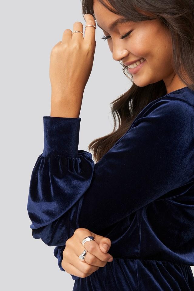 Velvet Overlap Mini Dress Dark Blue