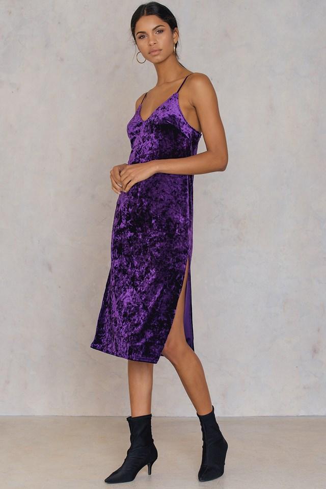 Velvet Side Slit Dress Strong Purple