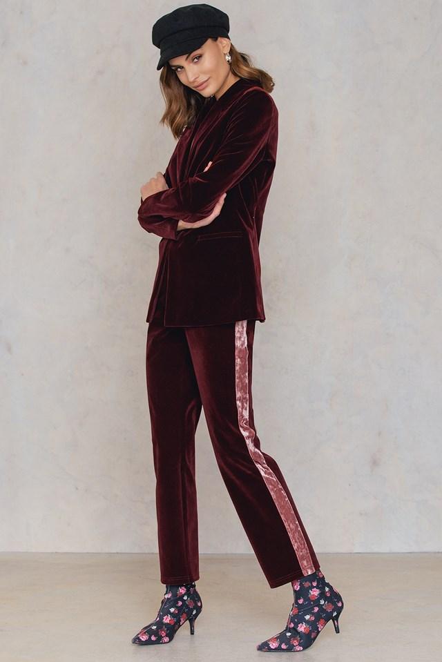 Velvet Striped Trousers Burgundy
