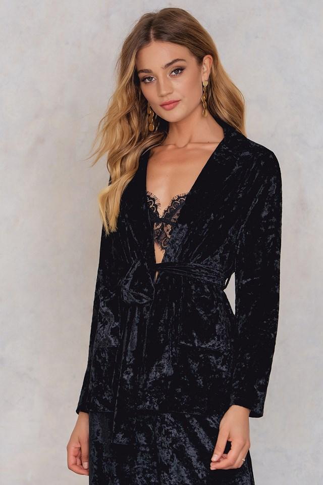 Velvet Tie Waist Blazer Black