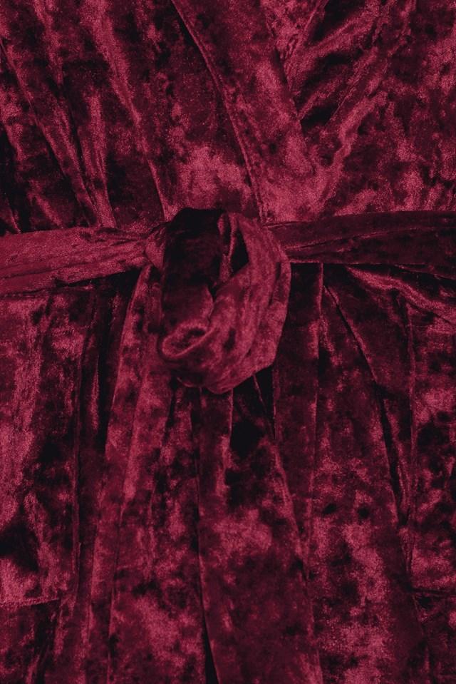 Aksamitna marynarka z wiązaniem w talii Wine Red