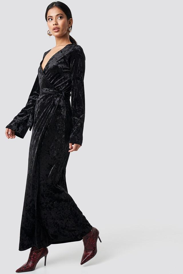 Velvet Tie Waist Overlap  Dress Black