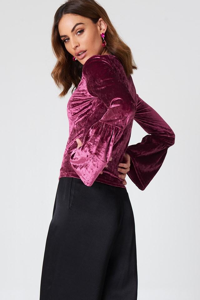 Velvet Flounce Sleeve Sweater NA-KD.COM