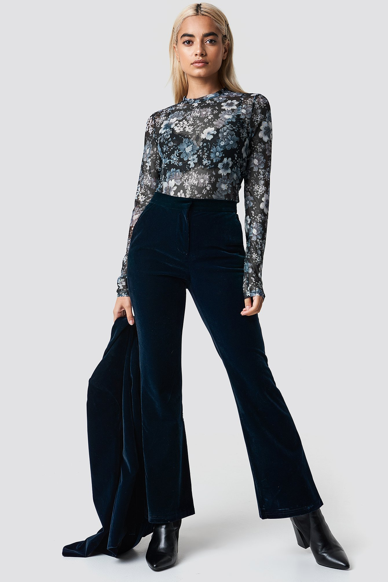 na-kd party -  Velvet Trousers - Blue