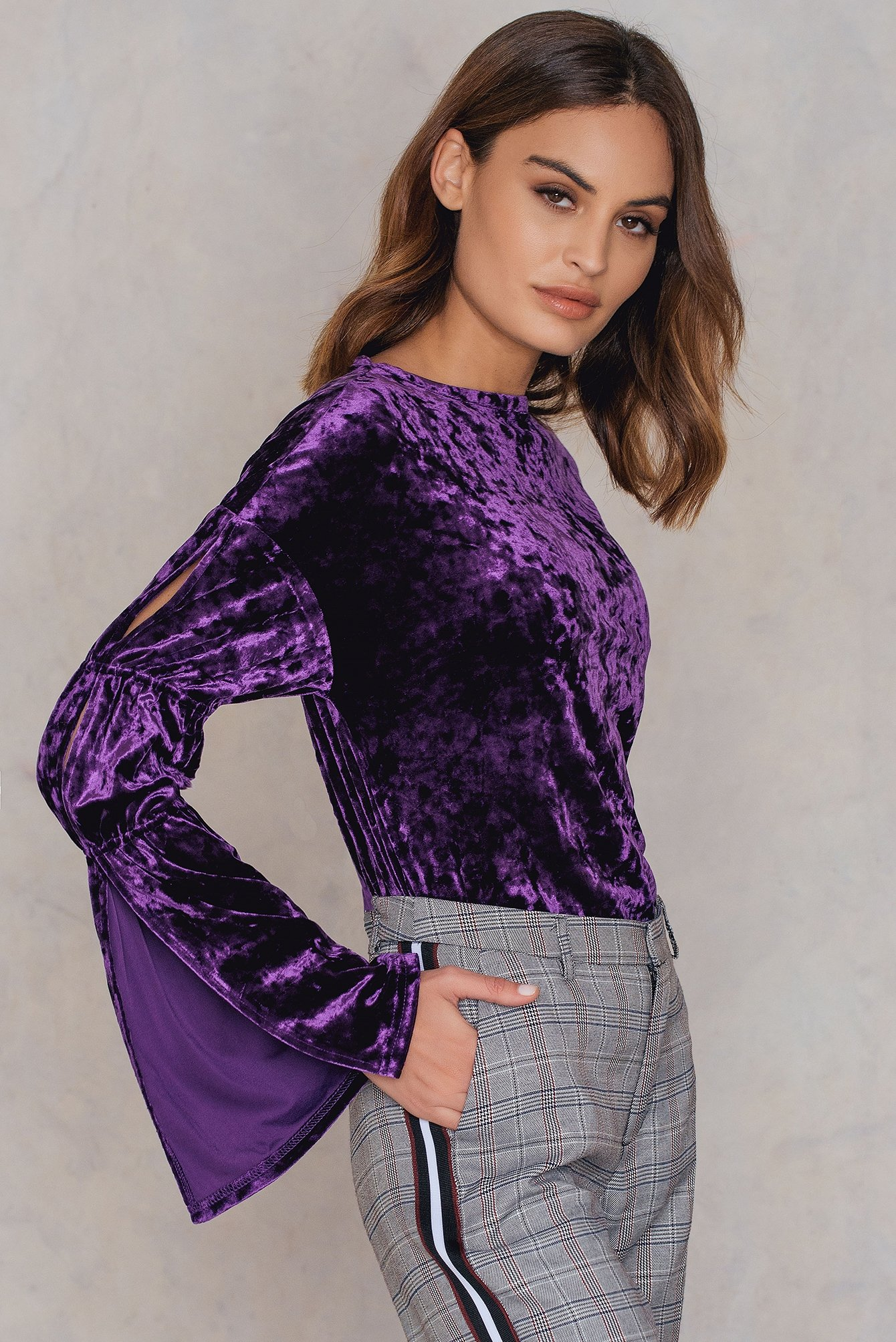 na-kd party -  Velvet Trumpet Sleeve Top - Purple