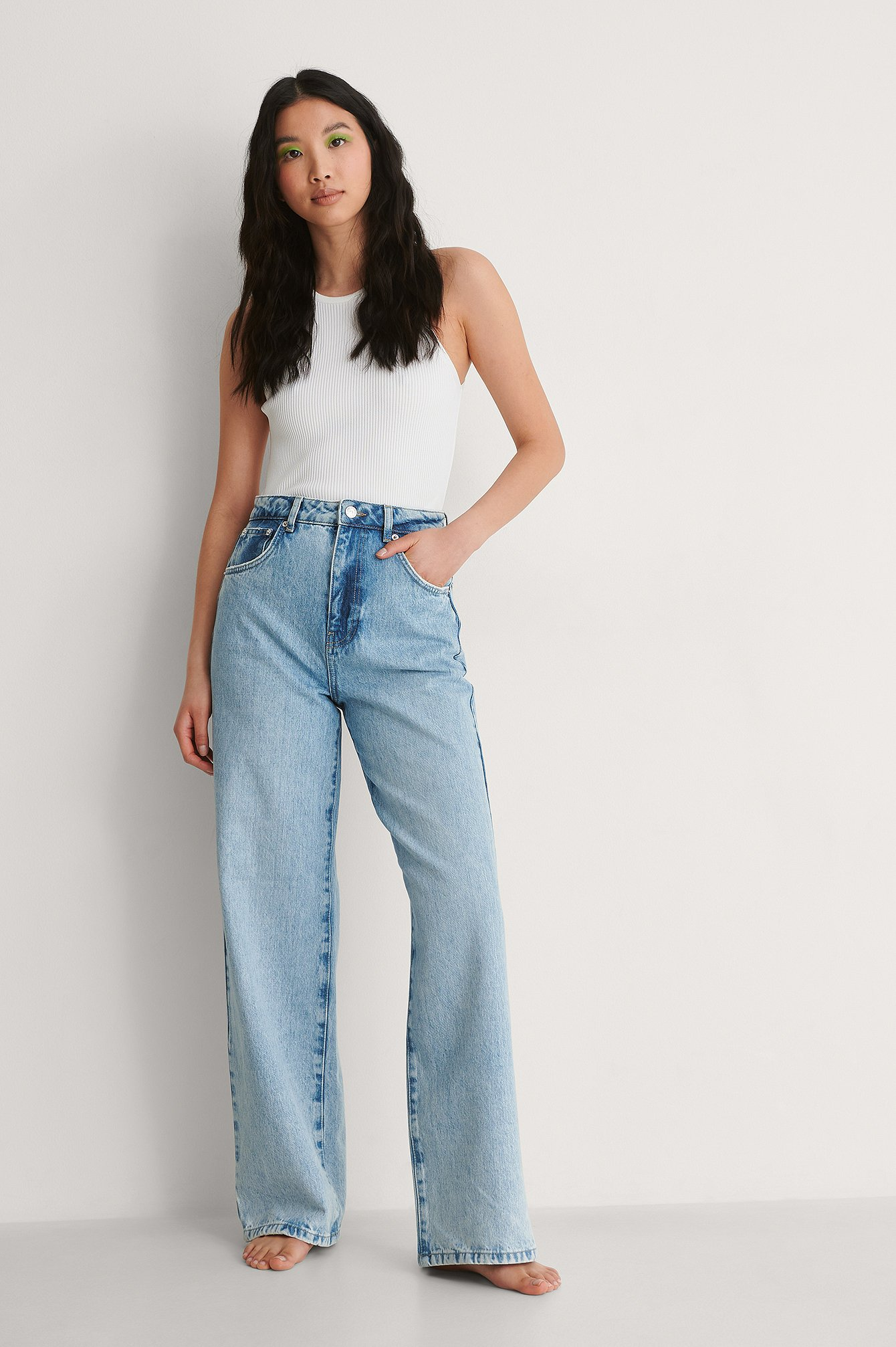 Light Blue Vintage Look Wide Leg High Waist Jeans