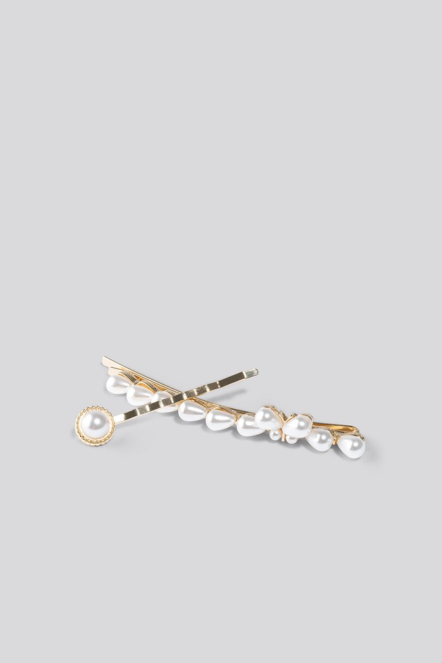 Vintage Pearl Hairclips Gold/White