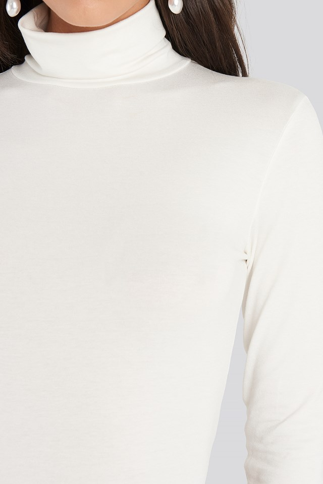 Viscose Long Sleeve Polo Top White