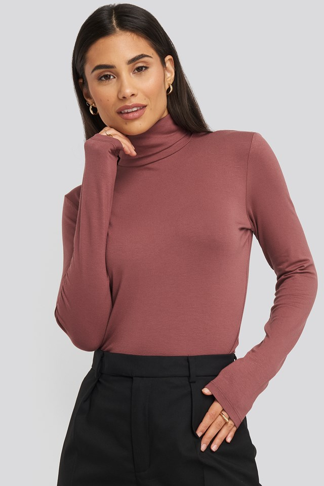Viscose Long Sleeve Polo Top Dusty Rose