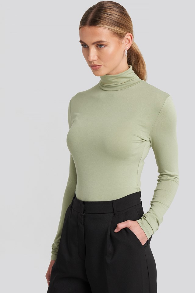 Viscose Long Sleeve Polo Top Light Khaki