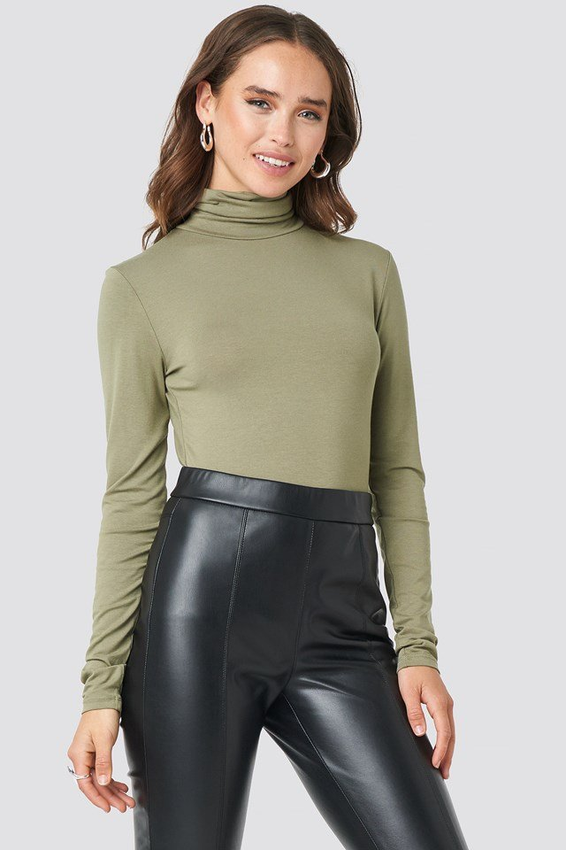 Viscose Long Sleeve Polo Top Khaki