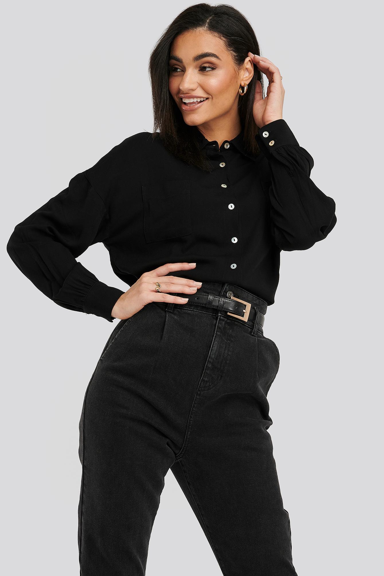 NA-KD Classic Pearl Button Viscose Shirt - Black