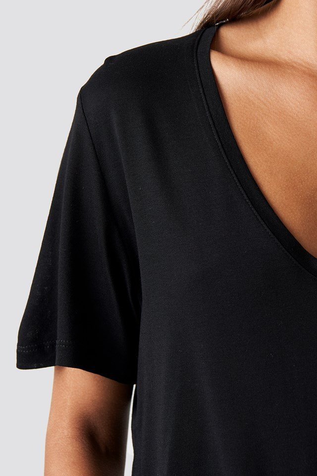 Viscose V-neck Tee Black