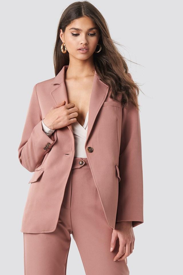 Visible Stitch Straight Fit Blazer Dusty Dark Pink