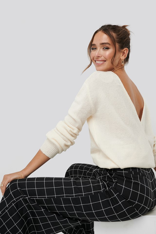V-Neck Back Overlap Knitted Sweater Offwhite