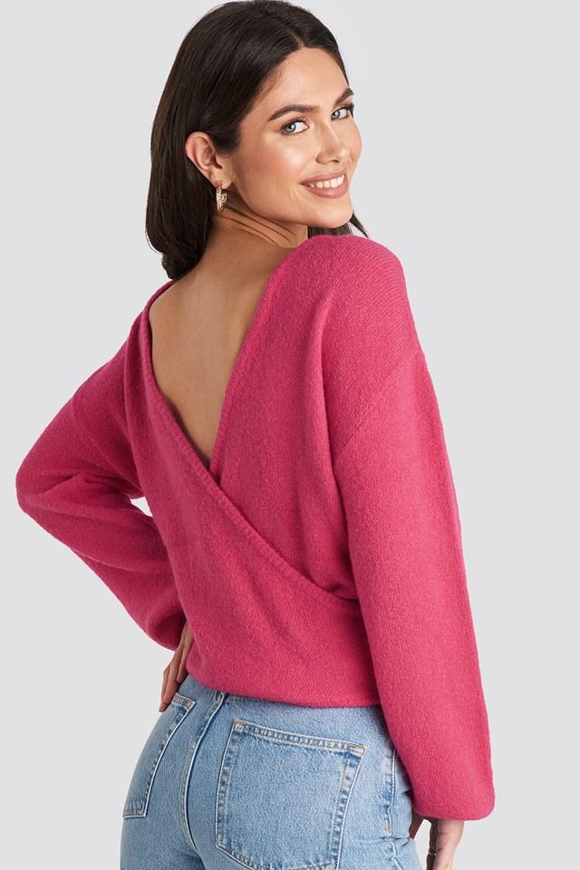 V-Neck Back Overlap Knitted Sweater Fuchsia