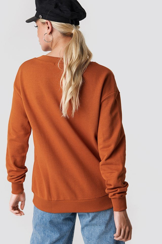 V-neck Basic Sweater Rust