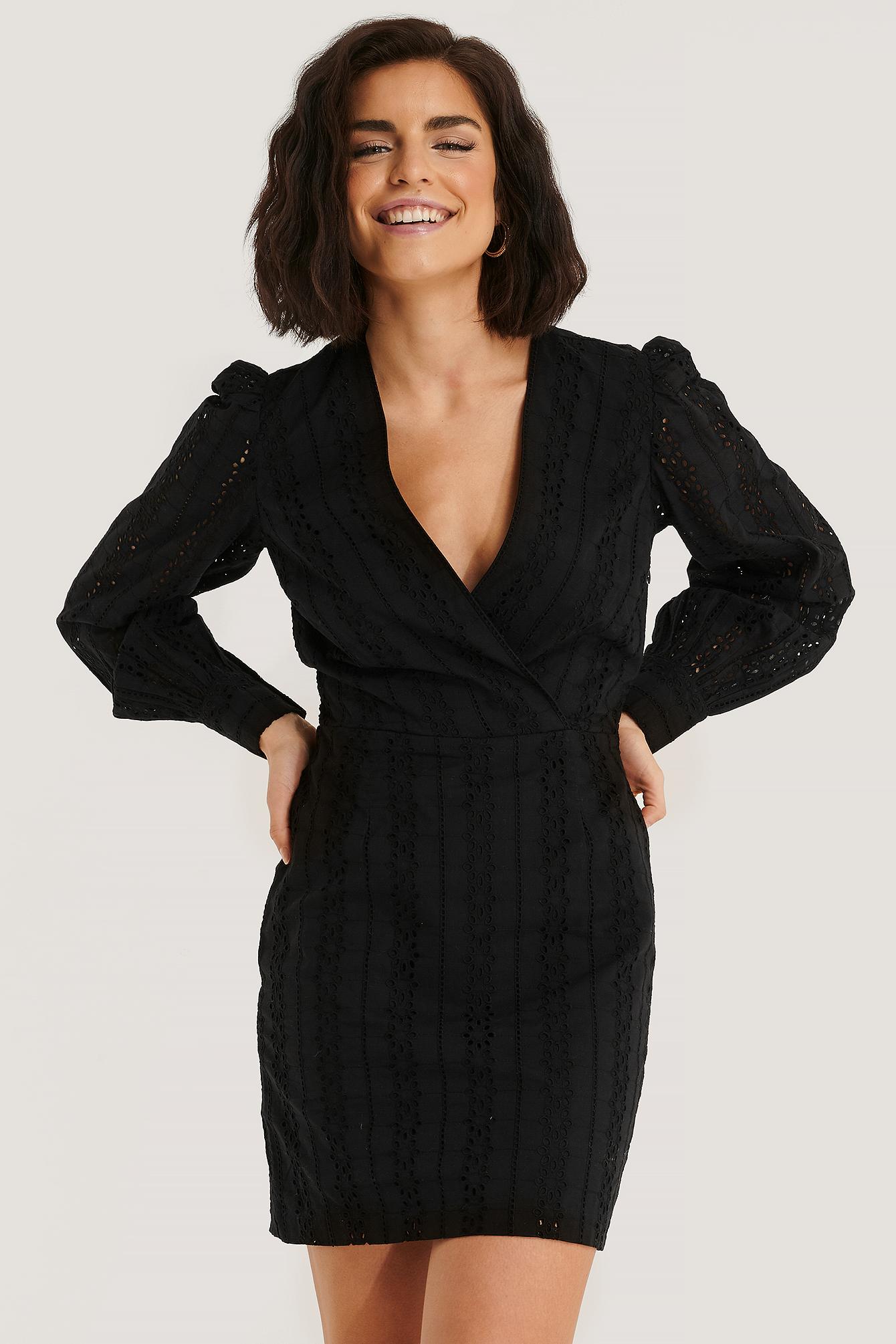 NA-KD Boho V-neck Crochet Dress - Black