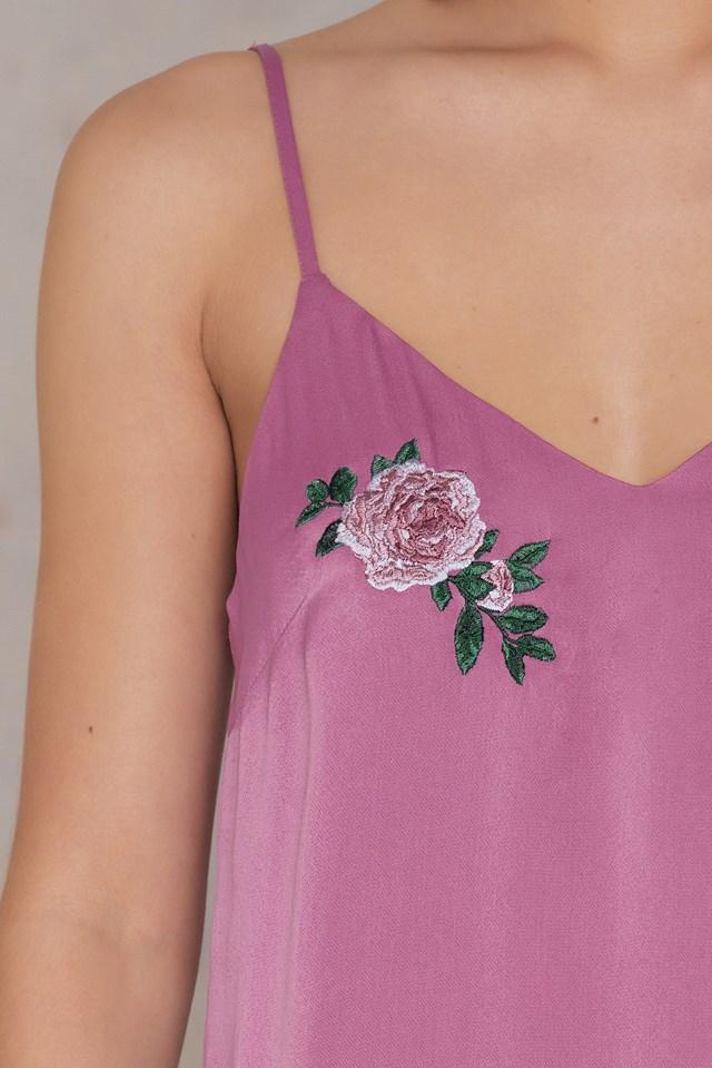 V-neck Double Embroidery Singlet Dusty Purple