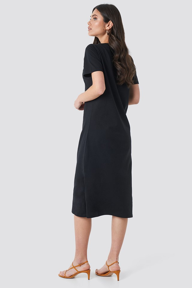 V-neck Jersey Dress Black