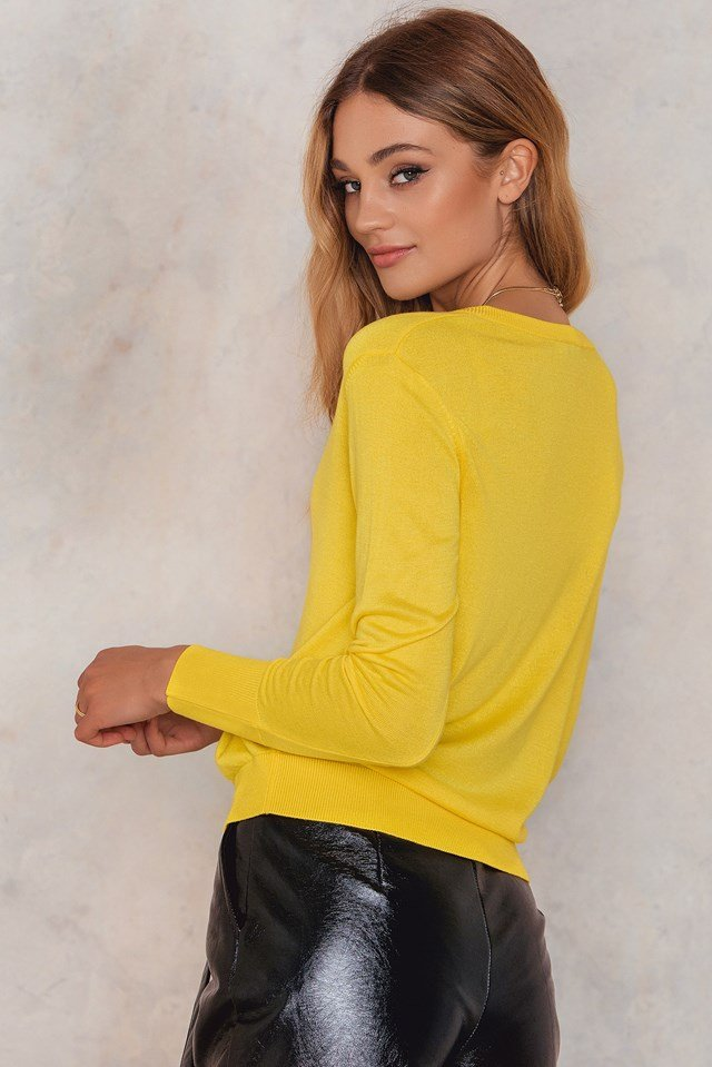 V-Neck Knitted Sweater Yellow