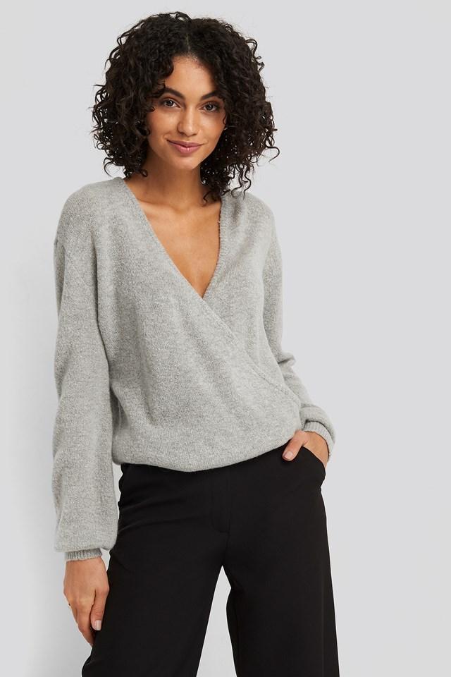V-Neck Overlap Knitted Sweater Grey