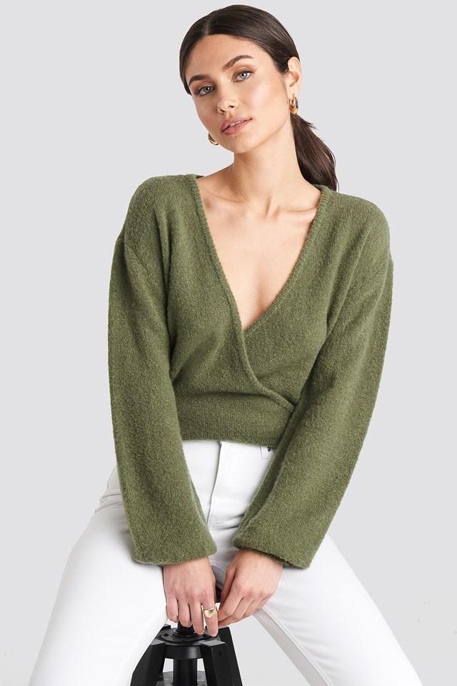 V-Neck Overlap Knitted Sweater Khaki
