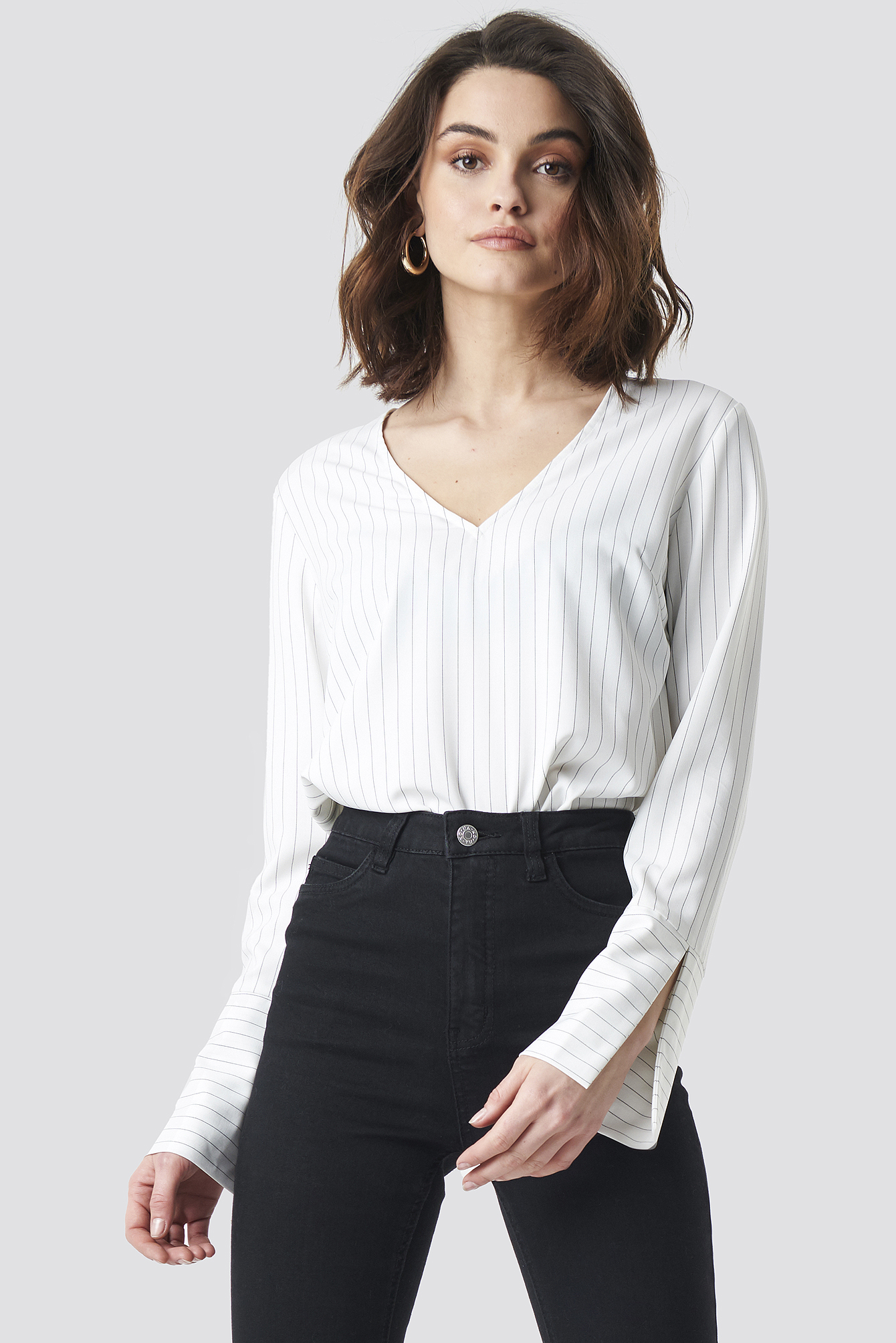 na-kd -  V-neck Pinstriped Blouse - White
