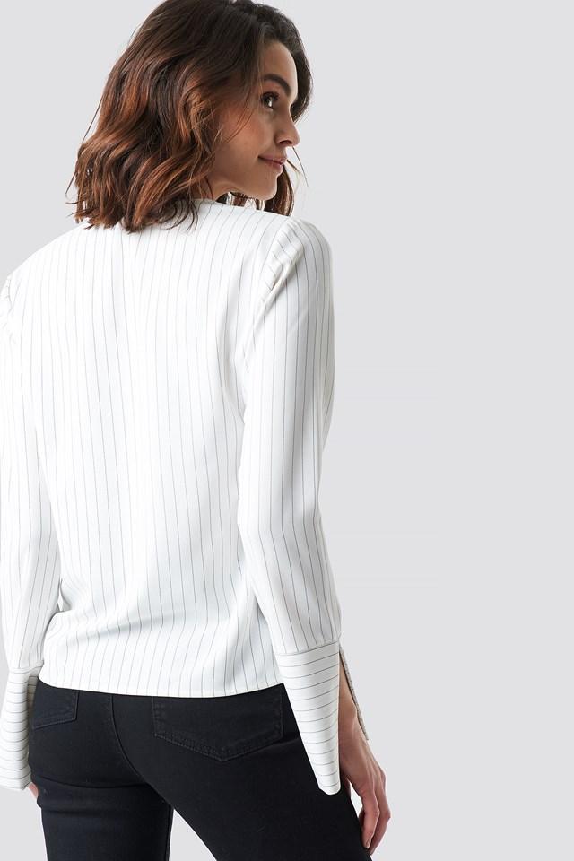V-neck Pinstriped Blouse White