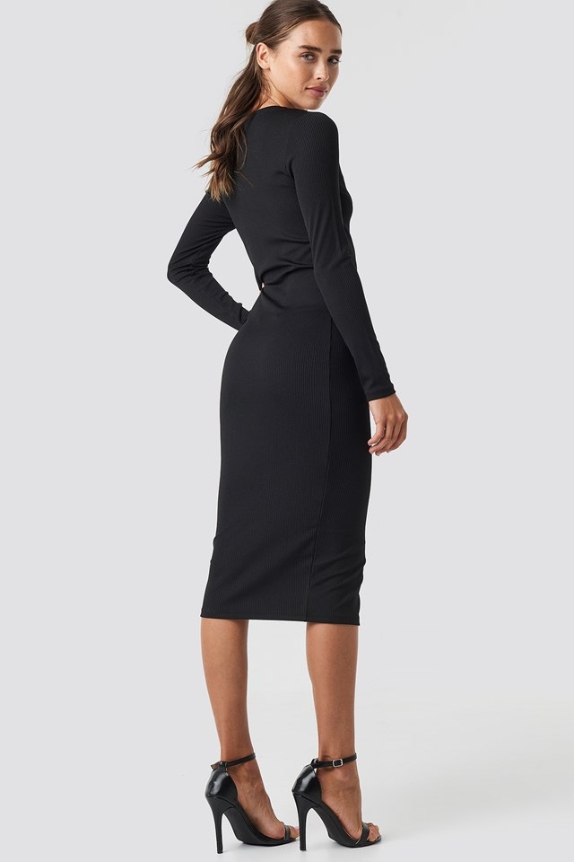 V-Neck Ribbed Button Detail Dress Black