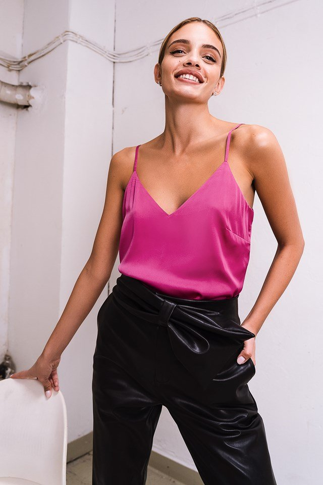 V-Neck Satin Cami Top Pink
