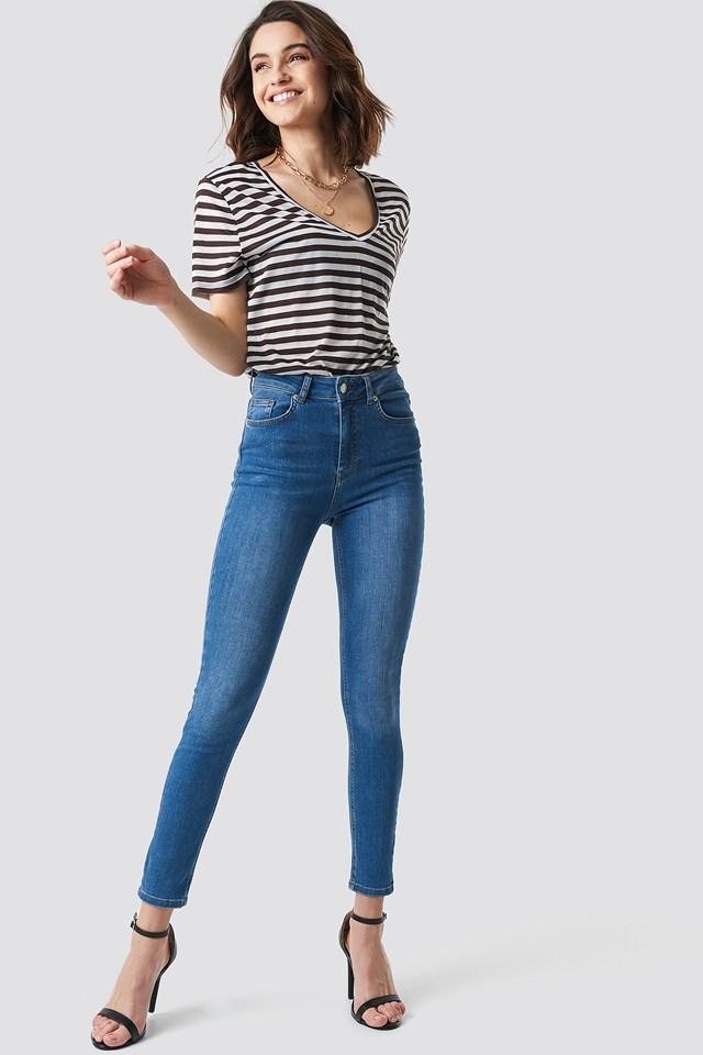 V-Neck Striped T-Shirt Brown