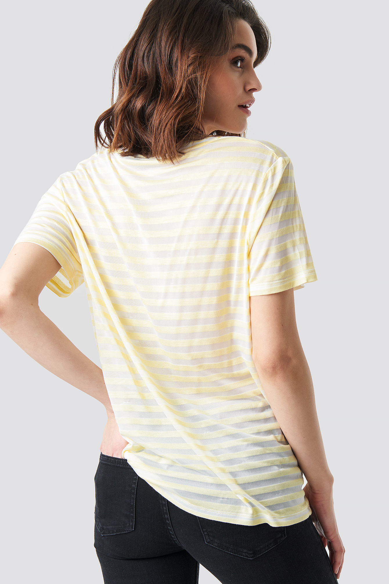 V-Neck Striped T-Shirt NA-KD.COM