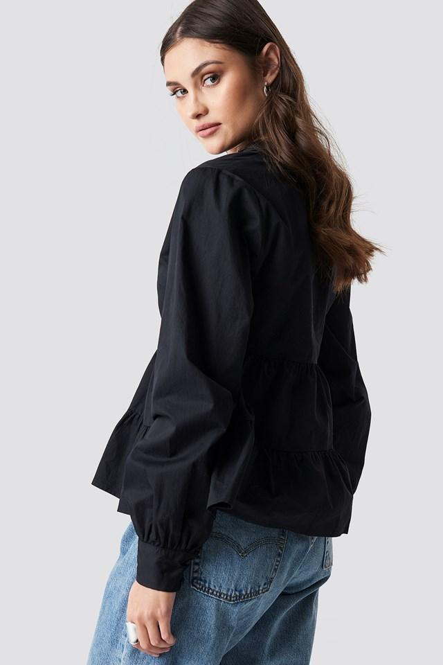 V-Neck Volume Sleeve Top Black