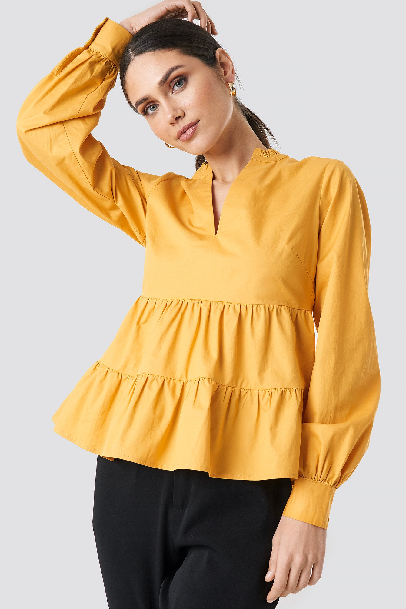 NA-KD Boho V-Neck Volume Sleeve Top - Yellow