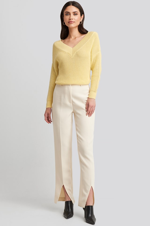 V-Neck Wide Rib Knitted Sweater Light Yellow