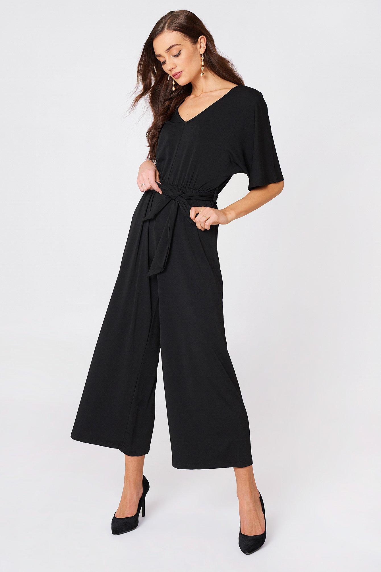V Neck Wide Sleeve Jumpsuit Black Na Kd Com